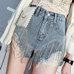 #5051 Nail Drill Denim Shorts