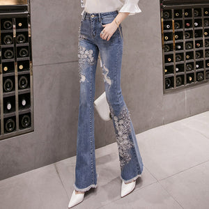 #5052 Embroidered beaded Jeans Trousers