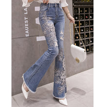 Load image into Gallery viewer, #5052 Embroidered beaded Jeans Trousers