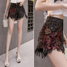 Load image into Gallery viewer, #5056 Beaded Tassel Denim Shorts