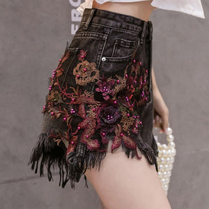 #5056 Beaded Tassel Denim Shorts