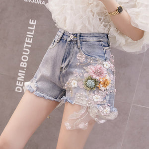 #5057 Embroidered Beaded Denim Shorts