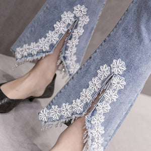 #5062 Embroidery Jeans Trousers
