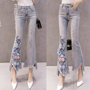 #5063 Bead Embroidery Jeans Trousers
