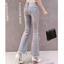Load image into Gallery viewer, #5063 Bead Embroidery Jeans Trousers