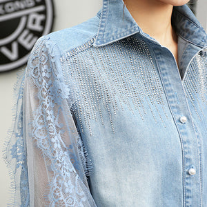 #5073 Lace Stitching Sequins Beaded Denim Shirt