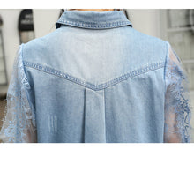 Load image into Gallery viewer, #5073 Lace Stitching Sequins Beaded Denim Shirt