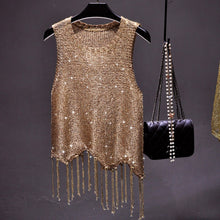 Load image into Gallery viewer, #5104 Sequined Tassel Top
