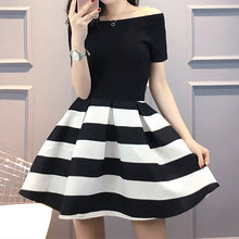 Load image into Gallery viewer, #5115 Black and White Stripes Dress