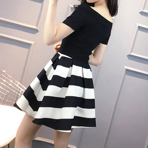 #5115 Black and White Stripes Dress
