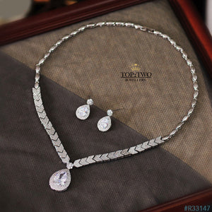 R33147 Earrings + Necklace (Two-piece ) S925 sterling silver