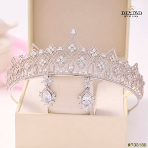 #R33188 Crown + Earrings (Two-piece )