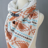 ADULT triangle cowl wrap scarf - ivory tan blue jaquard