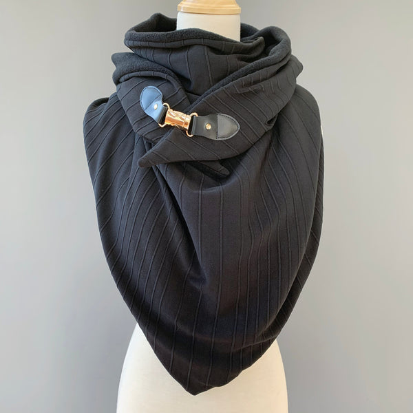 ADULT triangle cowl wrap scarf - textured black