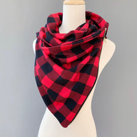 ADULT Zipper cowl wrap scarf -buffalo plaid red