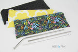 ReUsable Straw and Cutlery Bag - green leaf
