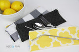 LUXE ReUsable Straw and Cutlery Bag SET- Grey Gold brushstroke