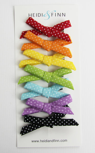 Mini Rainbow polka dot Hair clip sets hairbow