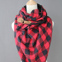 ADULT triangle cowl wrap scarf - red black buffalo plaid