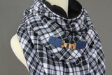 ADULT triangle cowl wrap scarf - black white plaid navy