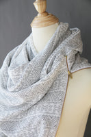 ADULT Zipper cowl wrap scarf -white and charcoal
