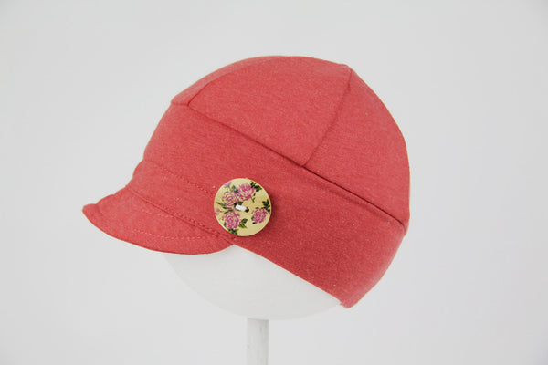 Downtown Hat -cotton jersey CORAL (various buttons)