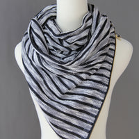 ADULT Zipper cowl wrap scarf -black white slub stripe