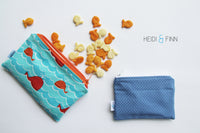 MEDIUM 'square' ReUsable Snack Bag - blue and white rose