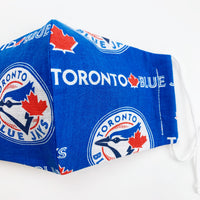 "ADULT ""Ear Loop"" cotton face mask- blue jays"