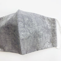 "ADULT ""Ear Loop"" cotton face mask- concrete grey and silver"