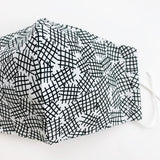 "ADULT ""Ear Loop"" cotton face mask- crosshatch black and white"