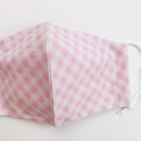 "CHILD ""EarLoop"" cotton face mask- pink check"