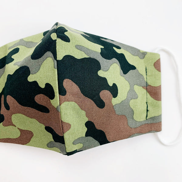 "CHILD ""EarLoop"" cotton face mask- camo"
