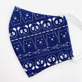 "CHILD ""EarLoop"" cotton face mask- navy animals"
