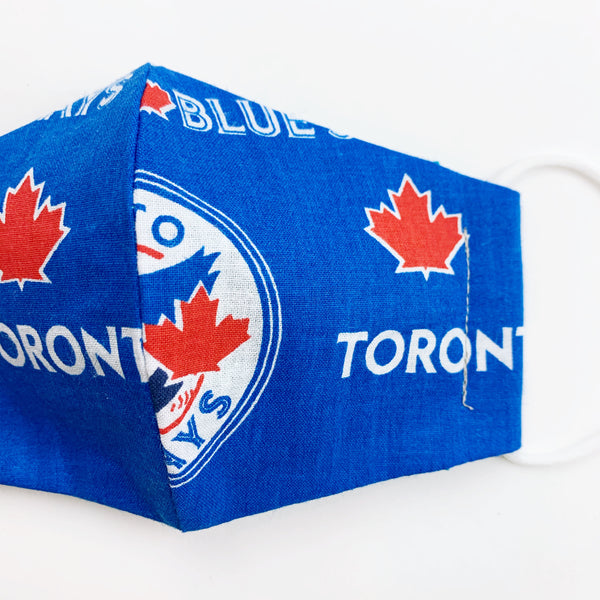 "SMALL CHILD ""EarLoop"" cotton face mask- blue jays"