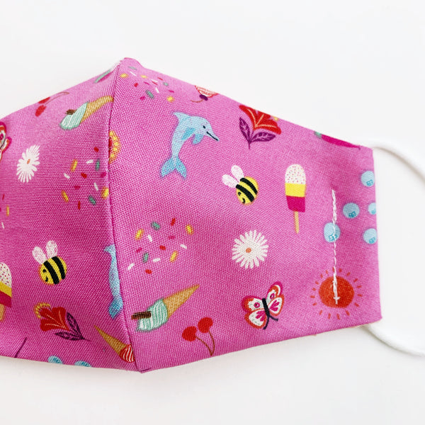 "SMALL CHILD ""EarLoop"" cotton face mask- pink summertime"