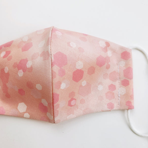 "SMALL CHILD ""EarLoop"" cotton face mask- pink bokah"