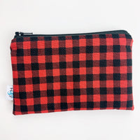 MEDIUM ReUsable Snack Bag - red and black plaid