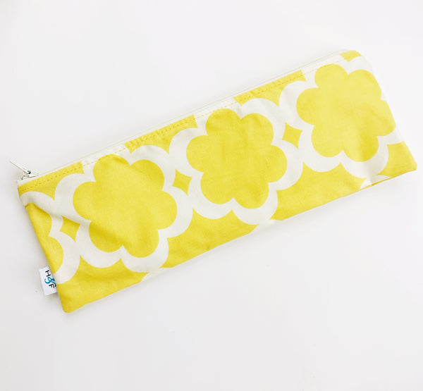 ReUsable Straw and Cutlery Bag - Yellow and white flower