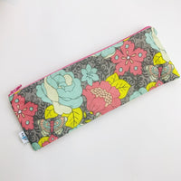 ReUsable Straw and Cutlery Bag - Pink and grey floral