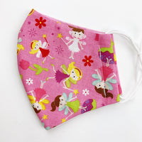 "SMALL CHILD ""EarLoop"" cotton face mask- pink fairy"