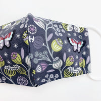 "CHILD ""EarLoop"" cotton face mask- winter garden dark"