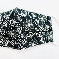 "CHILD ""EarLoop"" cotton face mask- black lace"