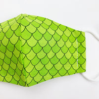 "SMALL CHILD ""EarLoop"" cotton face mask- green scales"