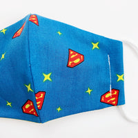 "SMALL CHILD ""EarLoop"" cotton face mask- superman"