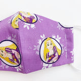 "SMALL CHILD ""EarLoop"" cotton face mask- rapunzel tangled"