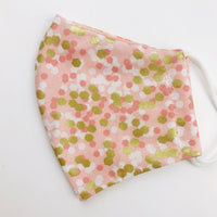 "SMALL CHILD ""EarLoop"" cotton face mask- pink and gold dot"