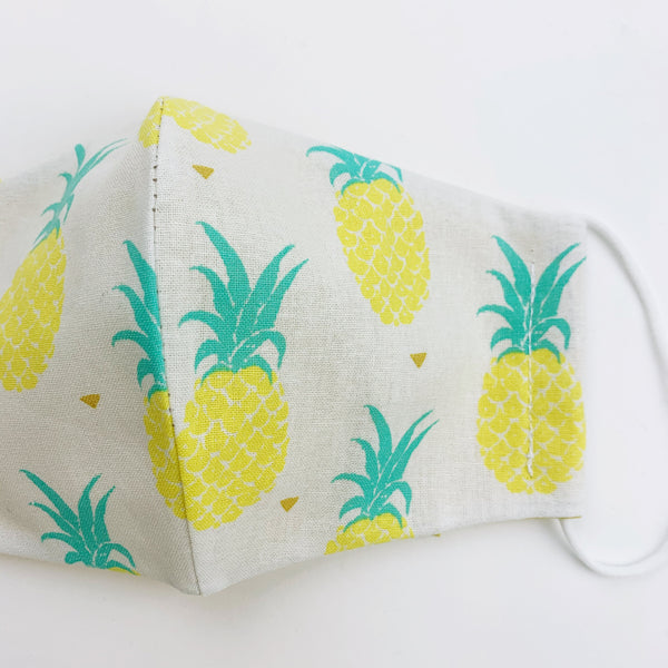 "CHILD ""EarLoop"" cotton face mask- pineapple"