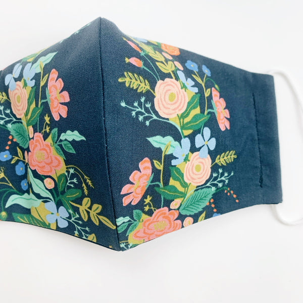"ADULT ""Ear Loop"" cotton face mask- navy floral"