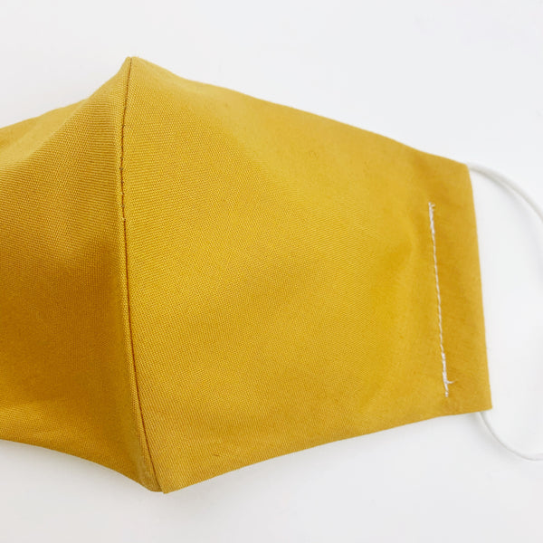 "ADULT ""Ear Loop"" cotton face mask- mustard solid"